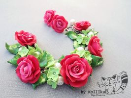 Bracelet - Rose and Hydrangea by polyflowers