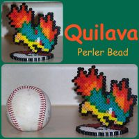 Gift To MaypleLeaf-Quilava PC Sprite Perler Bead by Destiny-The-Hedgimon