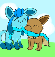 Glaceon and Eevee by Mysticvulpix