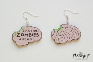 Zombies Ahead Earrings by faktoria-f