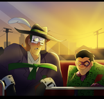 Music Meister and Riddler hanging out by pink-ninja