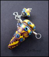 Kanika - Glass Lampwork Bottle Pendant by andromeda