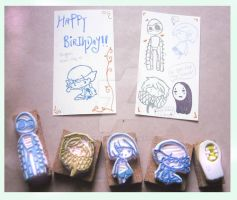 Rubber Stamps Set - B-day present~ by XluciferXX