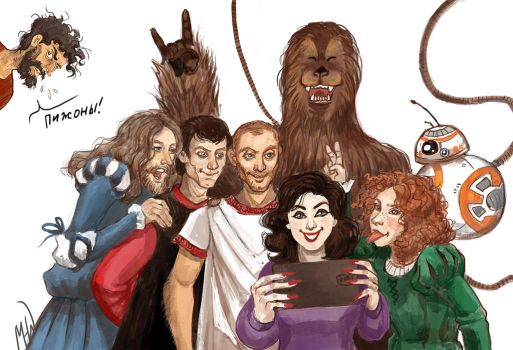 Hollywood selfie with ask characters by MadHatters-Wife