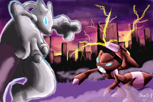 Mewtwo vs Shiny Genesect by Phatmon66