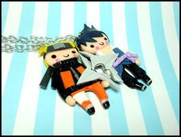 Sasu/Naru BFF Shuriken Necklace Set by GrandmaThunderpants