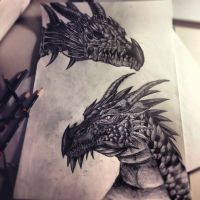 Dragon and Dragon Skull by Esthiell
