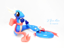 Dragonair and Dratini with pink bow by rosepeonie