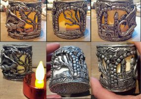 Candle Holder Dragon and Castle by AstridMakosla