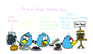 The Blues' Pranks - Toothpaste Oreos by AngryBirdsStuff