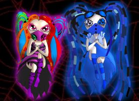 Creepie and Cyberria the wicked cyber goth fairies by emmanu888