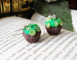 Polymer clay chocolate muffins with limes and kiwi by Benia1991