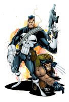 Punisher and Wolverine by AlonsoEspinoza