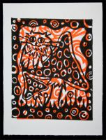 Trippy Mushroom Cat - handprinted linocut by KatiaGoa