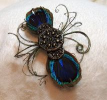 Pretty as a Peacock- Barrette by kittibee