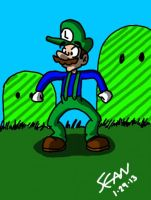 Luigi drawn on the 3DS by TheRealSneakers