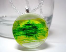 Green+Yellow Abstract Pendant by ExperienceDesigns