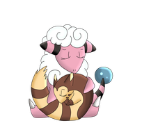 AT: Furret and Flaafy sleeping digital by Lunastralis