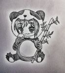 Sasha Braus panda suit chibi from Attack on Titan by hollyvalance