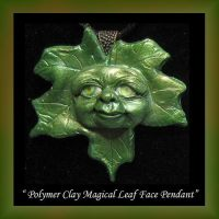 Magical Leaf Face Polymer clay Pendant by KabiDesigns