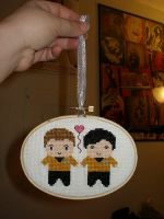 Cross-Stitched Chekov and Sulu by leighblack