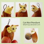 Nut Pendant Cat by Bittythings