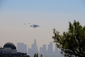 Shuttle Endeavor, T-38's, and Observatory by AndySerrano