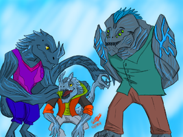 *Request* Anthro Pacific Rim kaiju Family by createandshow0407