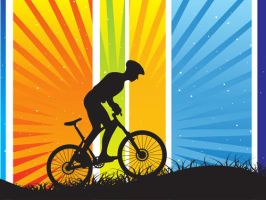 silhouette cycling on colorful by obsupergirl