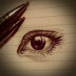 Eye Drawing In Biro by haloanime97