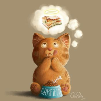 Garfield's Saint Lasagna by AlbaParis