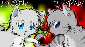 Dovepaw and Ivypaw by JayFeatherIshEpic