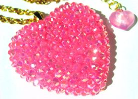 Pink Rock Candy Heart necklace by pinkminx
