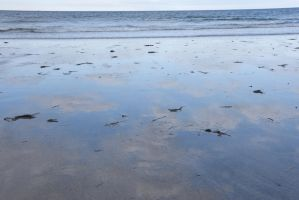 The Beach Reflection, Clouds In Wet Sand by Miss-Tbones