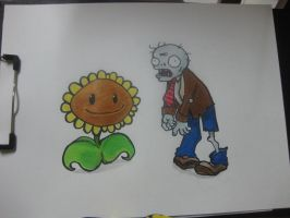 Sunflower and Zombie - colored by chinggay