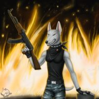 Jenny and AK-47 by BullTerrierKa