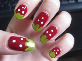 Strawberry Nail Art by Zomijas