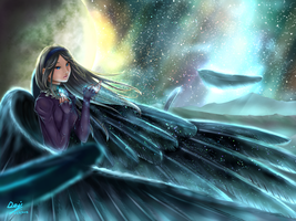 The Border of the Universe: Galaxy Note Painting by shiori2525