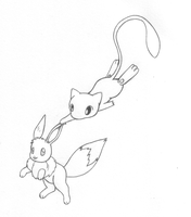 Mew and Eevee Play Tag by sunnyfish