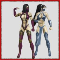 Mileena and Kitana . Classic poses by White---Devil