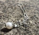 Sterling Silver Pearl Drop Pendant Necklace by Clerdy