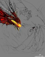 Dragonborn v Red Dragon -WIP4 by JereduLevenin