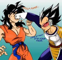 Vegeta punches Yamcha by Aibu-Maria