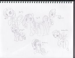Short Sketch of the mane 6. by derpato