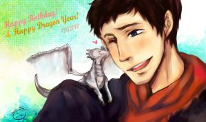 HBD Colin Morgan and HNY 2012 by Zeiruin