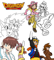 Digimon Universe Sketch Dump by BlueIke