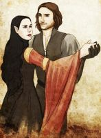 Arwen and Aragorn by ladyarrowsmith