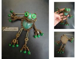 Steampunk frog 2 by Rouages-et-Creations