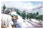 Mountainside Landscape Watercolour by Abstractmusiq