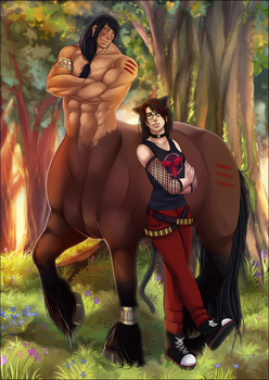 Thunderhoof and his small bestfriend - Commission by Quelfarii